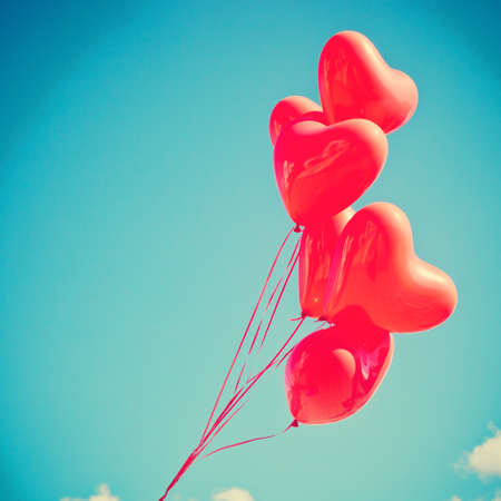 Bunch of heart-shaped balloons