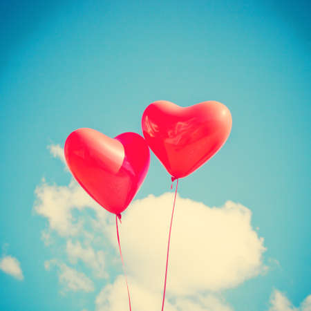romantic heart: Two heart-shaped balloons