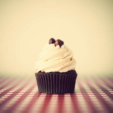 Hazelnut cupcake over a checkered tablecloth photo