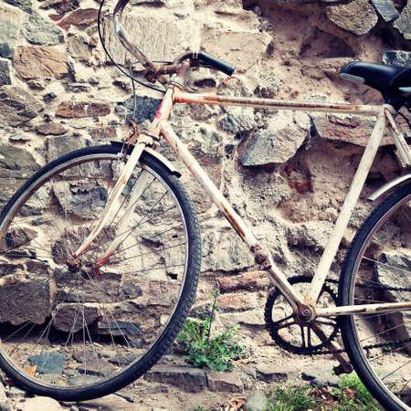 Vintage old pink bicycle photo
