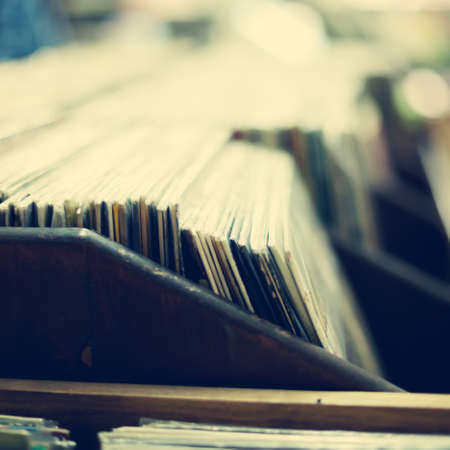 Vintage vinyl record shelf Stock Photo