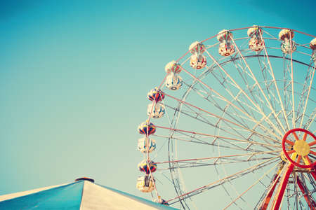 vibrant colors fun: Vintage ferris wheel and tent
