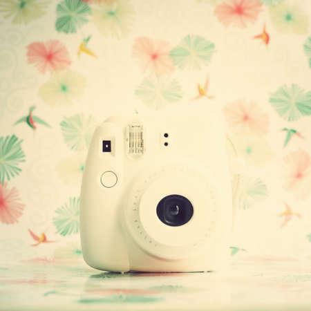 Vintage white film camera photo