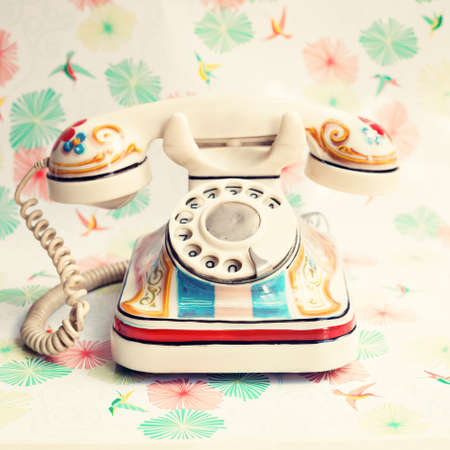 pastel: Vintage white hand-painted telephone