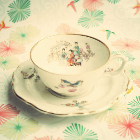 chinese tea cup: Vintage chinese tea cup Stock Photo
