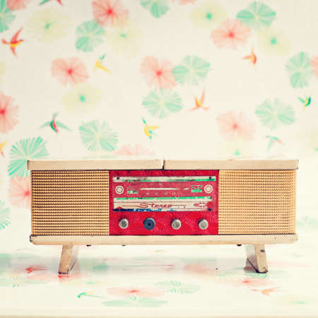vintage radio: Vintage music box with the shape of a radio