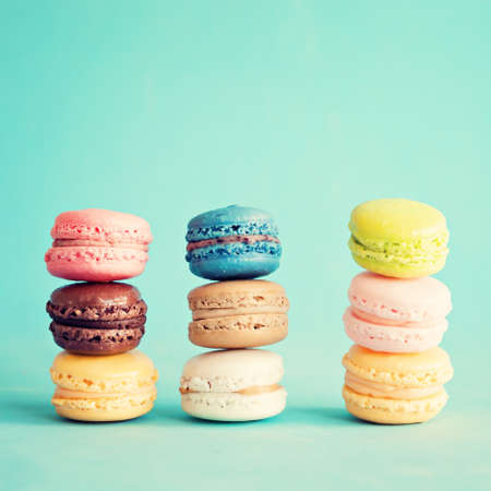 three stacks of macaroons photo