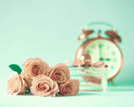 aqua flowers: Pink roses still life