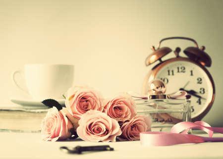 Vintage pink roses photo