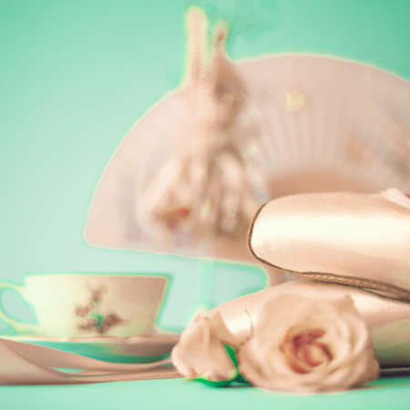 Ballet shoes and roses photo