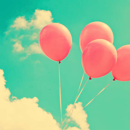 birthday balloon: Vintage pink balloons Stock Photo