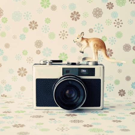 Vintage analogue camera with a kangaroo photo