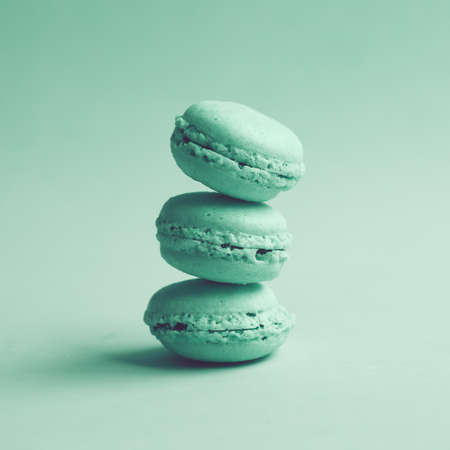 Three vintage turquoise macaroons photo