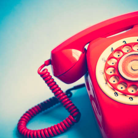 phone cord: Vintage red telephone Stock Photo