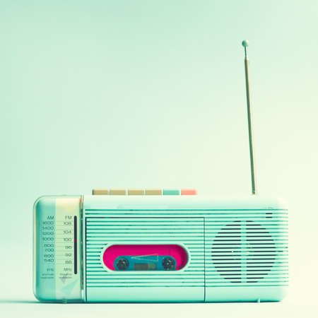 background summer: Vintage turquoise radio cassette player