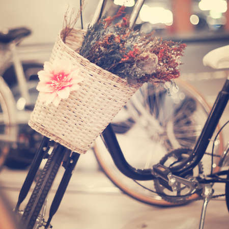 Vintage bicycle with basket photo