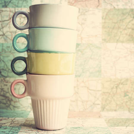 Four coffee cups photo
