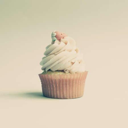 Vintage strawberry cupcake photo
