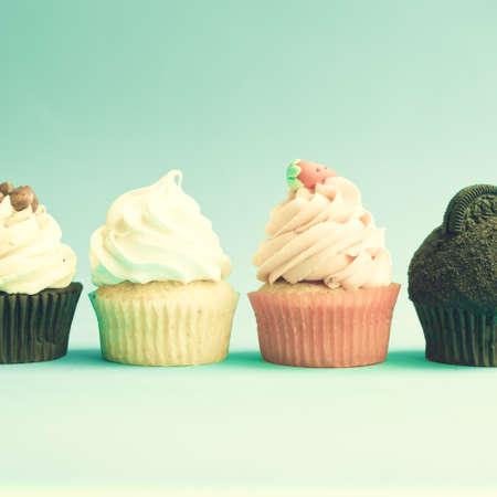 Four vintage cupcakes photo
