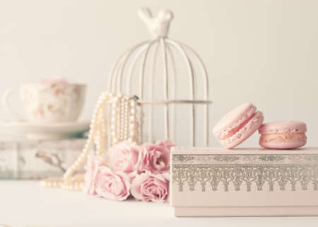Vintage roses and pearls with macaroons over box