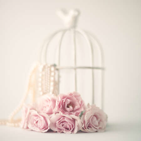 Vintage roses and pearls photo