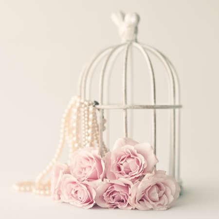 Vintage rozen en parels Stockfoto