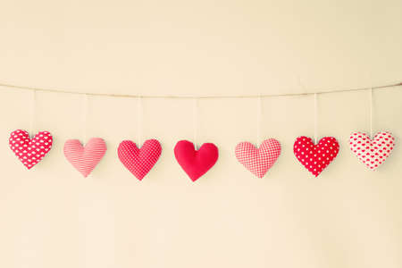 Cotton hearts hanging from a line