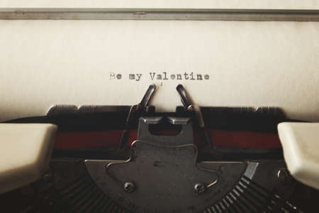 wedding love: Love message in a vintage typewriter Stock Photo