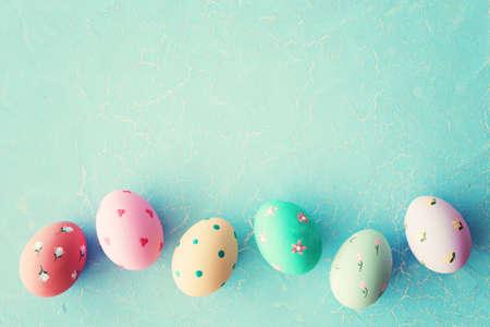 Vintage hand-painted easter eggs 写真素材