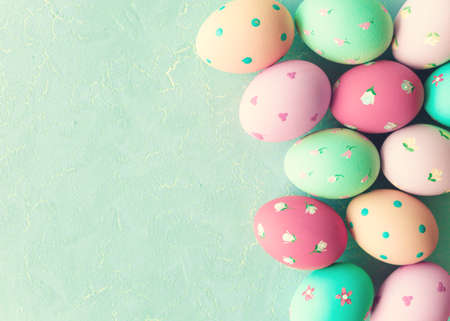 Vintage hand-painted easter eggs Stock Photo