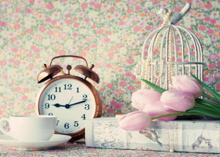 Pink tulips and vintage objects