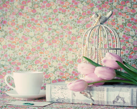 vintage objects: Pink tulips and vintage objects