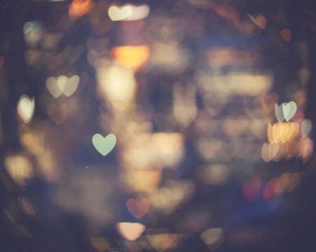 new love: Heart-shaped bokeh lights
