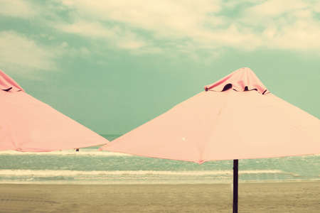 summer beach: Vintage Summer beach and umbrellas
