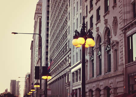 michigan avenue: Michigan Avenue buildings in Chicago during sunset Stock Photo