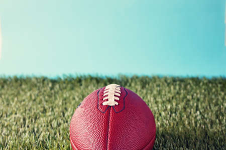 professional football: vintage football over grass Stock Photo