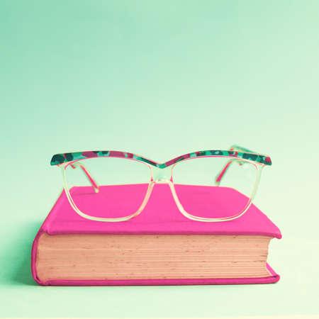 オタク眼鏡と本 写真素材