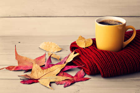 Coffee cup, red scarf and autumn leafs over pale wood
