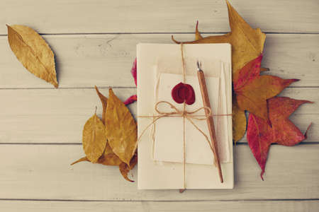 sealing wax: Vintage pen, letters and autumn leafs over pale wood