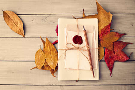 sealing wax: Vintage pen, paper and autumn leafs over pale wood Stock Photo