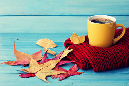 Coffee cup over red scarf and autumn leafs Foto de archivo