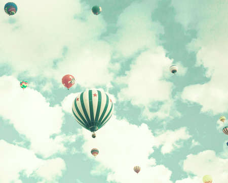 weightless: Vintage Hot Air Balloons in flight