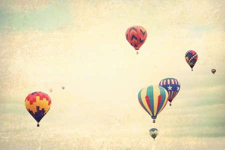 hot love: Vintage textured balloons in flight Stock Photo