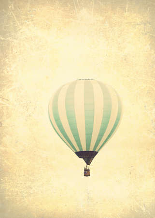 basket: Vintage textured balloons in flight Stock Photo