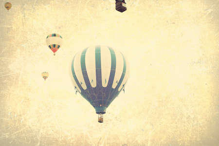hot spring: Vintage textured balloons in flight Stock Photo