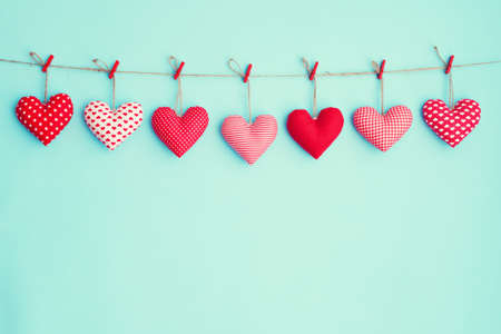 Hanging stuffed hearts 스톡 콘텐츠