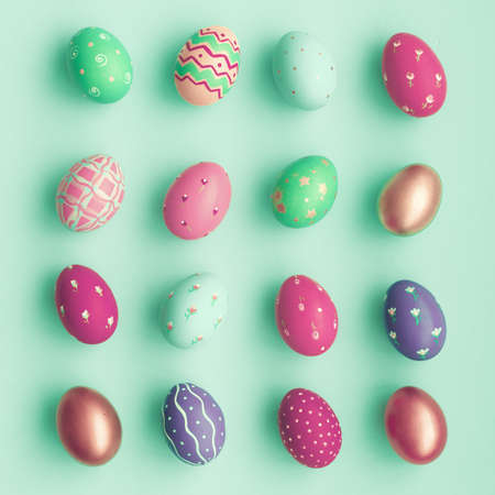 mint: Vintage pastel easter eggs over mint background Stock Photo