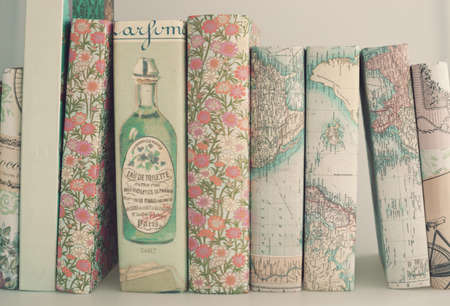 shabby: Books with vintage homemade dust jackets Stock Photo