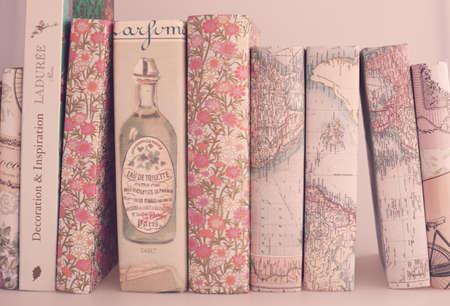pink wallpaper: Books with vintage dust jackets Stock Photo