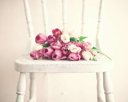 Pink and white tulips over a vintage wood chair